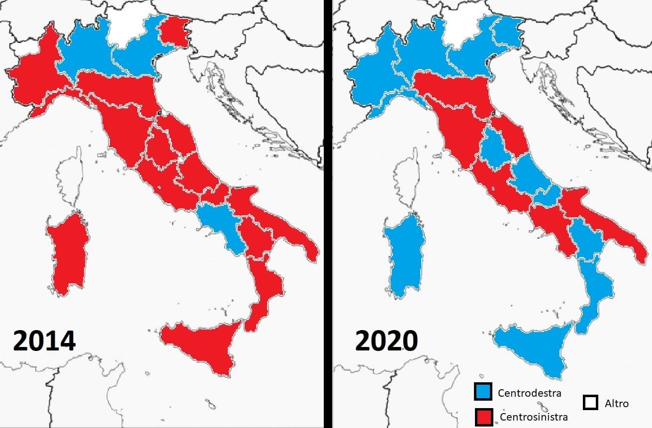 Cartina Dellitalia Regioni.Regionali Cosi Cambia Colore La Cartina Dell Italia Dopo Le Elezioni Del 26 Gennaio