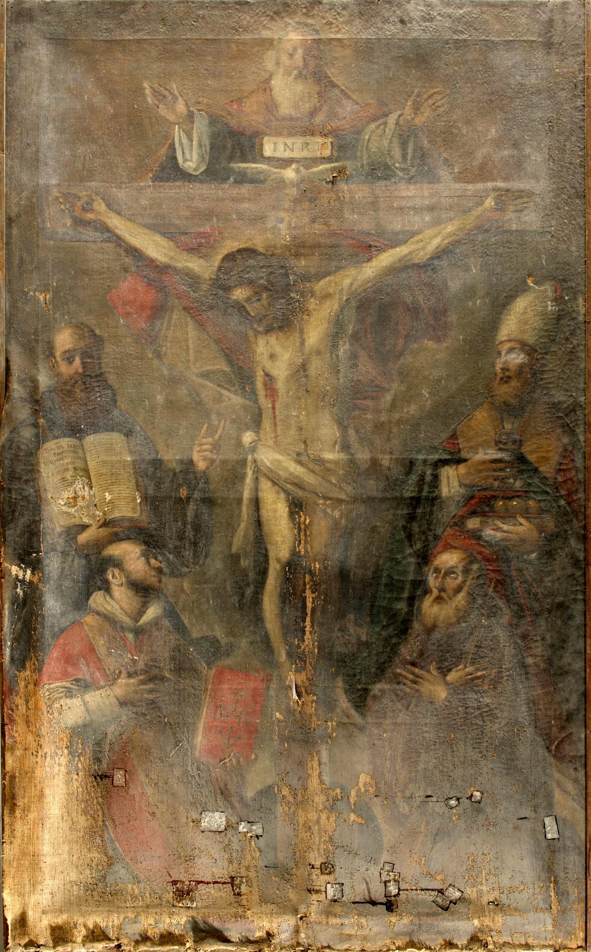 Giacomo Cavedone, Trinità e santi, chiesa di S. Michele Arcangelo di Cenacchio, PRIMA del restauro-2