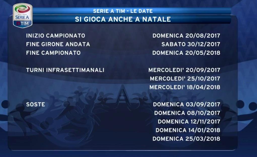 Calendario 18 Giornata Serie A.Bologna Calendario Serie A 2017 2018 Date Partite Orari