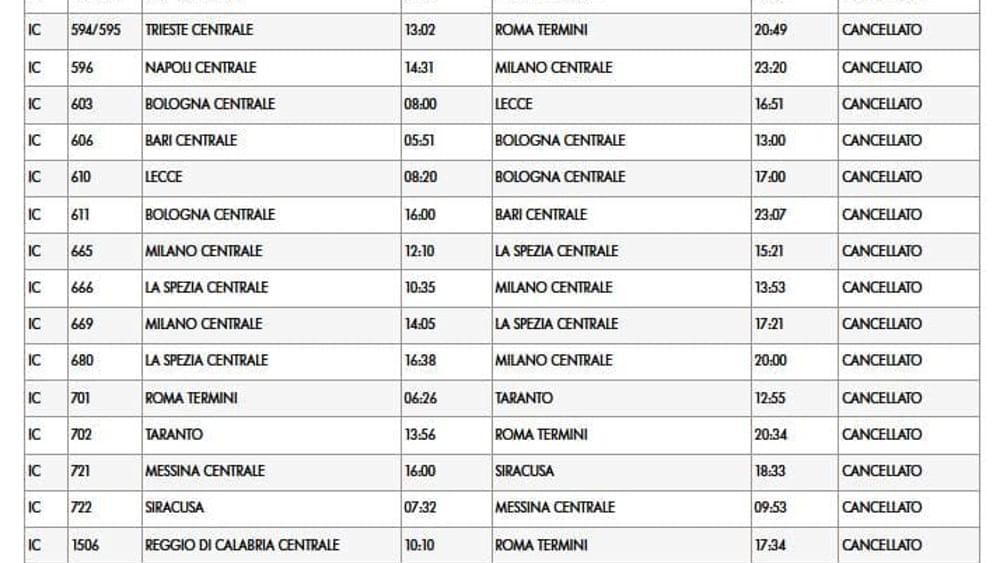 cancellati treni sciopero 24 luglio-2