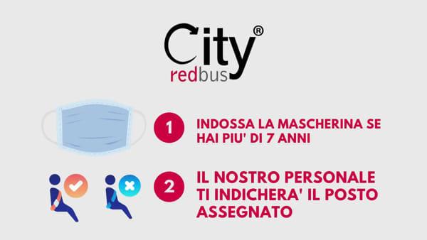 Mascherine e distanziamento sociale: così riparte anche il City Red Bus in città