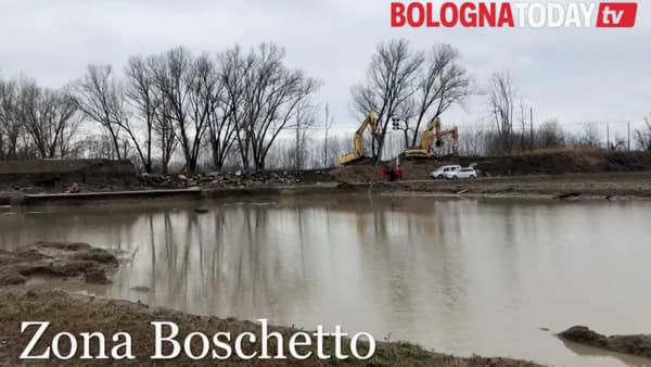 Esondazione Reno, Castel Maggiore: le immagini dell'argine rotto | VIDEO