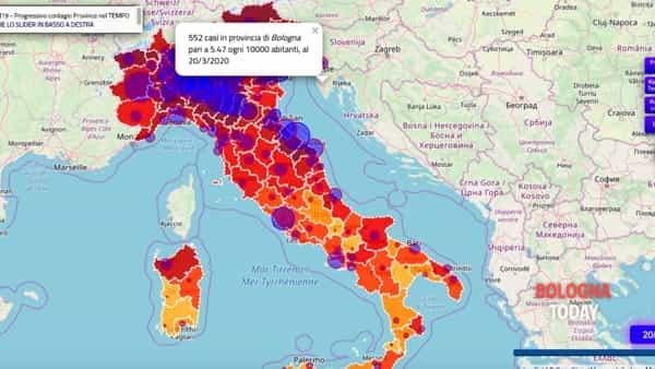 Bologna Cartina Italia.Mappa Coronavirus Italia Dati Aggiornati Quotidianamente