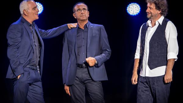 Giorgio Panariello, Carlo Conti e Leonardo Pieraccioni insieme a teatro
