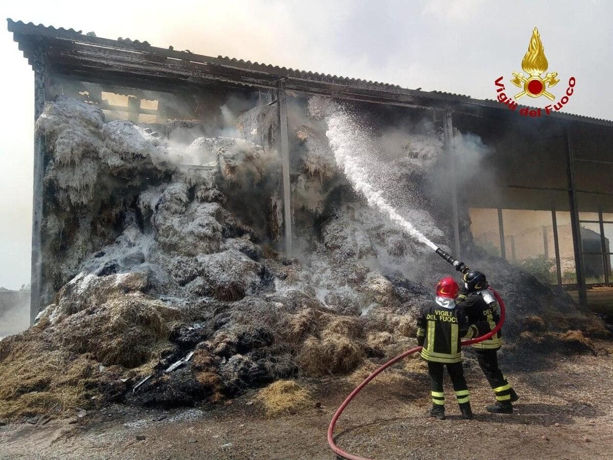 Incendio a Medicina: bruciano fienile e 400 balle FOTO